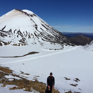 Looking back at Ngaruruhoe after crossing the field
