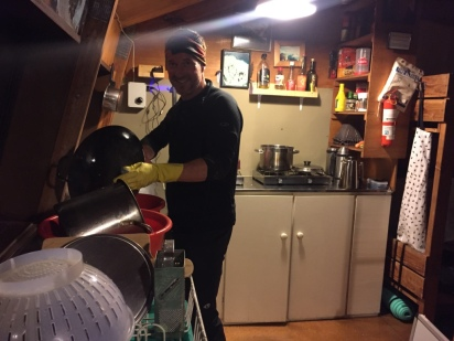 Brian on dish duty